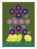 Four Baby Chicks Walking Through Some Flowers Posters