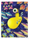 Submarine Surrounded by Fish Posters