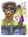 An Abstract of a African-American Male Hip-Hop DJ Holding a Turntable with Musical Notes Prints