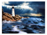 Lighthouse and Stormy Seas Affiches