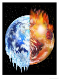 Half of the Earth Melting and Half of the Earth Burning Posters