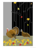 Turkeys in a Forest Posters