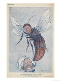 Eamonn De Valera Irish Statesman Depicted as a Wasp Stinging English Premier Lloyd George Giclee Print by  Barrere