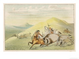 Native American Sioux Hunting Buffalo on Horseback Giclee Print by George Catlin