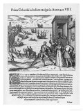 Columbus Takes His Leave of Ferdinand and Isabela Before Leaving for the New World Giclee Print by Theodor de Bry