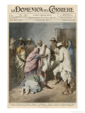 Gandhi is Arrested by the Indian Government for His Civil Disobedience Tactics Gicleetryck av Achille Beltrame