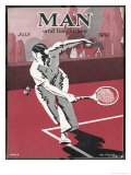 Dashing Man Plays a Difficult Tennis Shot Giclee Print by Apsley Apsley