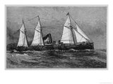 American Despatch Boat with Sails as Well as Its Steam Engines Giclee Print by J.o. Davidson