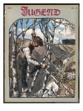 German Farmer Trims His Birches after the Winter's Storms Giclee Print by Georg Drawer