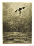 The War of the Worlds, The Martian Flying-Machine Over the English Channel Giclee Print by Henrique Alvim Corrêa