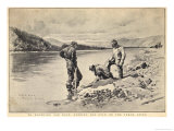 Panning Gold on the Yukon River Klondike Canada Premium Giclee Print by C.e. Fripp