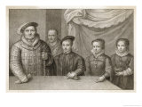 Henry VIII with His Children Edward, Mary and Elizabeth with Jester Will Sommers Giclee Print by Francesco Bartolozzi