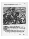 Columbus on His Way to the New World, an Allegorical Depiction Giclee Print by Theodor de Bry