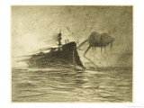 The War of the Worlds, The Torpedo-Boat's Brave Attack on the Martians Giclee Print by Henrique Alvim Corrêa