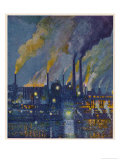 Munitions Factory at Night at the Beginning of World War One Premium Giclee Print by Fritz Gartner