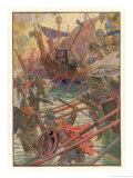 Danish Attacks on the English Coast Giclee Print by Henry Justice Ford