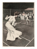Woman Playing Tennis in Long White Skirt Giclee Print by Ferdinand Von Reznicek