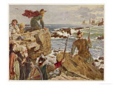 Watching the Approach of Danish Raiders from the English Coast Giclee Print by Herbert A. Bone