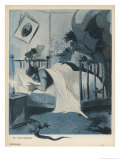 Diabolical Nightmare Hovers Over an Unfortunate Victim's Bed Giclee Print by Leal da Camara