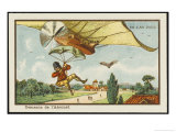 Alighting from an Airship by Parachute Giclee Print by Jean Marc Cote