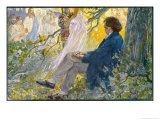 Ludwig Van Beethoven Beethoven Composes His Symphonies Sitting Under a Tree Giclee Print by L. Balestrieri