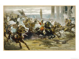 The Fall of Rome Alaric's Visigoths Ride Exuberantly into Rome Premium Giclee Print by V. Checa