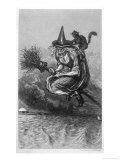 Witch Flies to the Sabbat with Her Cat on Her Broomstick Premium Giclee Print by F. Armytage