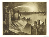 The War of the Worlds, The First ,Falling Star, is Seen Over the Rooftops of London Giclee Print by Henrique Alvim Corrêa