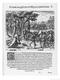 Columbus Deals Firmly with Rebels and Criminals Giclee Print by Theodor de Bry