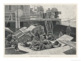 Emigrants Travelling Steerage Sit or Sleep on Deck as Their Ship Carries Them to America Giclee Print by Arnaldo Ferroguti