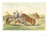 Native American Hunting Buffalo on Horseback Giclee Print by George Catlin