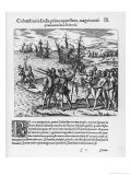 Columbus Lands on Guanahani Renamed San Salvador Now Known as Watlings Island Giclee Print by Theodor de Bry