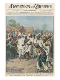 Gandhi Calls on Indian Nationalists to Practise Civil Disobedience Gicleetryck av Achille Beltrame