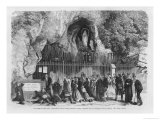 Pilgrims Drinking the Miraculous Water Admire the Miraculous Statue at Lourdes Giclee Print by A. Deroy