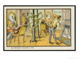 Mechanised Barber-Shop Premium Giclee Print by Jean Marc Cote