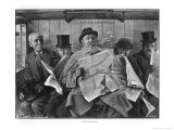 To Seat Five Persons' Gentlemen Struggle to Read Their Newspapers in an Overcrowded Train Giclee Print by Samuel Begg