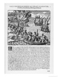 The French Sack Loot and Burn the Spanish-Held Town of Chorera Giclee Print by Theodor de Bry