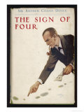 The Sign of Four Holmes Pipe Between His Teeth Examines Footprints Giclee Print by Abbey