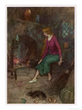 Cinderella by the Fireside Giclee Print by Warwick Goble