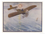 First Air Crossing of the English Channel: Over the Open Sea Giclee Print by H. Delaspre