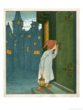 Wee Willie Winkie Runs Through the Town Upstairs and Downstairs in His Nightgown Rapping Premium Giclee Print by Edward Hamilton Bell