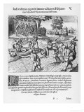 The Inhabitants of Puerto Rico Test the Belief That the Spaniards are Immortal by Drowning Salsedo Giclee Print by Theodor de Bry