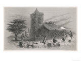 North Berwick Witches: Dr. Fian and Companions Fly Round a Church as They Confess to King James Vi Premium Giclee Print by F. Armytage