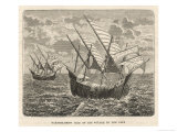 Bartholomew Diaz Portuguese Navigator Sails to the Cape, Giclee Print