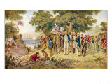 Captain Cook Takes Formal Possession of New South Wales Premium Giclee Print by J.a. Gilfillan