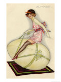 Lightly-Dressed Girl Riding an Egg Giclee Print by Luciano Achille