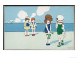 Children on the Beach, Wanting to Make Friends But Feeling a Bit Shy Giclee Print by A. Bertiglia
