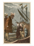 Vasco Da Gama on His Return to Portugal He is Honoured by a Visit from King Manoel I Giclee Print by Dalziel