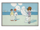 Children on the Beach, Two Boys Watching a Girl Cry Giclee Print by A. Bertiglia