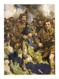 David Simpson Piper of the Black Watch Leads the Charge at Loos, But is Killed Almost at Once Giclee Print by Cyrus Cuneo